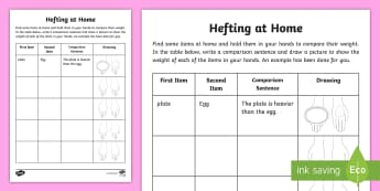 Hefting at Home Activity Sheet - measuring, comparing mass, mass, weight, australian curriculum, ACMMG006, measurement, reinforcement