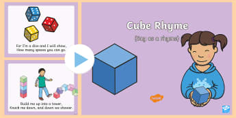 Cube Rhyme PowerPoint - 3d, maths, shape space and measure, square, singing, songtime