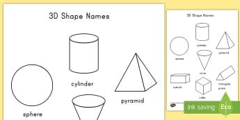 3D Shapes Coloring Activity - 3d, shapes, math, geometry, color, coloring