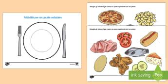 Attività Mangiare Sano Crea un Pasto Esercizio - mangiare, sano, alimentazione, italiano, italian