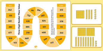 Three-Digit Number Place Value Board Game - Number and Place Value, maths mastery, year 3, fun maths, hundreds, tens, ones, number value,