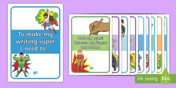 Super Writing Display Posters -  Reception, writing, display, Literacy, English, posters, super heroes