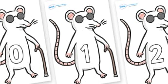 Numbers 0-31 on Blind Mice - 0-31, foundation stage numeracy, Number recognition, Number flashcards, counting, number frieze, Display numbers, number posters