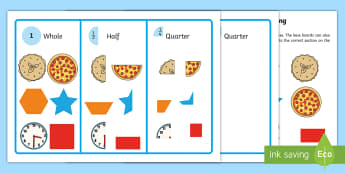 Workstation Pack: Quarter, Half and Whole Picture Sorting Activity - maths, fractions, shapes, sort, diagram, grouping, recognise, halves