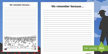 Remembrance Day 'We remember because...' Writing Template