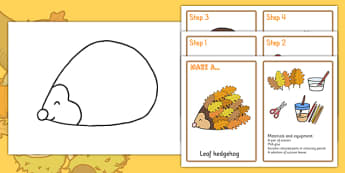 Leaf Hedgehog Craft Instructions - autumn, seasons, crafts, art