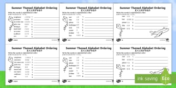 Summer Differentiated Alphabet Ordering Activity Sheet - English/Mandarin Chinese - Summer Differentiated Alphabet Ordering Worksheet - season, order, aplhabet, aphabet, alphablet, alp