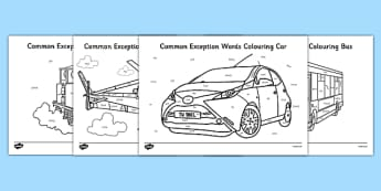Year 1 Common Exception Words Colouring Transport - year 1, common exception words, colouring, transport