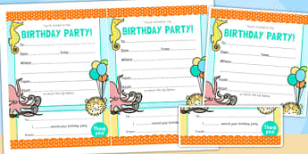 Under the Sea Themed Birthday Party Invitations - birthdays