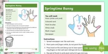 Springtime Bunny Handprinting Activity - paint, art, bunny, hand, fingers, sensory, special education,Australia