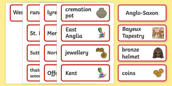 Anglo Saxons Word Cards - Anglo Saxon, Saxons, Anglo-saxon, history, word cards, cards, flash cards, card, Northumbria, Kent, bronze helmet, East Anglia, Bayeux Tapestry, St. Bede, Offa's Duke, jewellery, Wessex, Sutton Hoo, Kent
