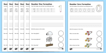 Number Formation Worksheets (0-9) - Handwriting, number formation, number writing practice, foundation, numbers, foundation stage numeracy, writing, learning to write