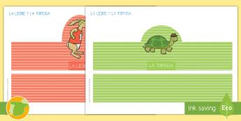 Corona de juego de rol: La liebre y la tortuga - corona, juego simbólico, jugar, actuar, liebre, tortuga, cuento, infantil, moraleja, ,Spanish