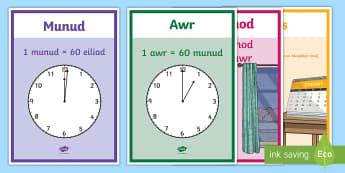 Posteri Arddangos Unedau Amser - cornel mathemateg, wall mathemateg, Amser, Cyfnod Allweddol 2, CA2, Cyfnod Sylfaen, Mathemateg, time, amser, rhifedd, numeracy, dyddiol,
