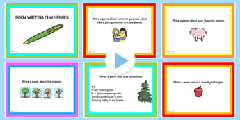 Poem Writing Challenge PowerPoint - poems, poetry, literacy
