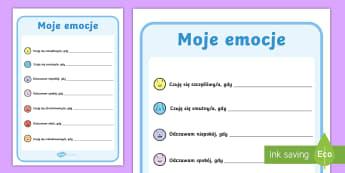 Karta Moje emocje - Moje, uczucia, emocje, samopoczucie, wyrażanie, emocji, uczuć, zachowanie, wychowanie, strach, szc