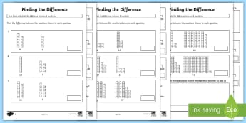 Year 2 Finding the Difference Differentiated Activity Sheets - number lines, tens and Units, abacus, Add subtract numbers using concrete objects, pictorial represe