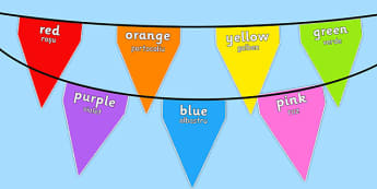 Colours on Bunting Romanian Translation - romanian, colours, bunting, display bunting, display