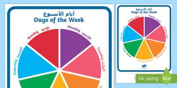 Days of the Week Circular Display Sign Arabic/English  - Today, day, chart, EAL, Arabic