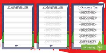 O Christmas Tree Christmas Carol Handwriting Practice Activity - Christmas, Nativity, Jesus, xmas, Xmas, Father Christmas, Santa, St Nic, Saint Nicholas, traditions,