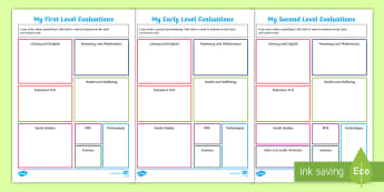End of Level Evaluation Differentiated Activity Sheets - CfE Transitions, end of year, new school year, new class, evaluations, targets, goals, Scottish