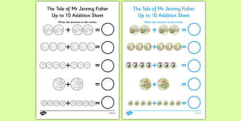 The Tale of Mr Jeremy Fisher Up to 10 Addition Sheet - jeremy, fisher, addition, sheet, maths, 10, beatrix potter, maths, numeracy