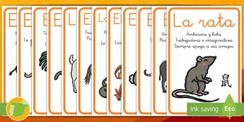 Pósters: Los animales del Año Nuevo Chino - china, animales, zodiaco, decorar, descripción, ,Spanish