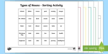 Types of Noun Sorting Cards - nouns, types of noun, categories, cards, sorting, language, words,Irish