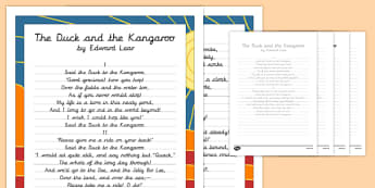The Duck and the Kangaroo Edward Lear Poem Handwriting Practice - poem, handwriting, practice, writing, the duck and the kangaroo, edward lear