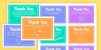 Thank You Notes Staff - reward, celebration, SLT, SMT, acknowledgement, respect, praise