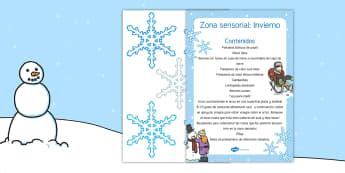 Zona sensorial: El invierno - zona sensorial, sensorial, sentidos, invierno, frío, experiencia, experimento,Spanish