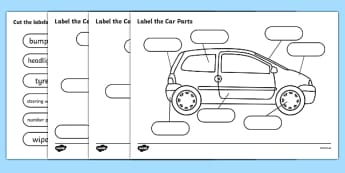 Label The Car Parts - car, cars, parts of the car, label, labelling, parts, bits, window, door, bumper