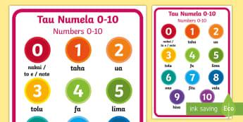 Numbers 0-10 Display Poster Niuean/English - niue, niuean language week, tau numela, numbers, pasifika