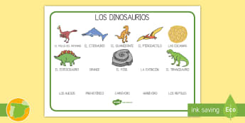 Tapiz de vocabulario: Los dinosaurios - iguanodonte, extención, pterodáctilo, prehistoria, fósil,Spanish