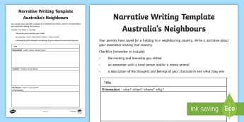 Australia's Neighbours Narrative Writing Template - Year 3, ACHASSK067, Australian Curriculum, Geography, language, Vocabulary, research, lesson, spelli