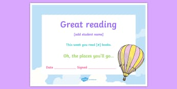 Editable Balloons Themed Reading Certificate - Dr. Seuss's Birthday, Dr. Seuss certificate, dr seuss, balloons, hot air balloons, oh the places yo