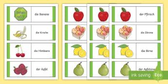 Different Fruits Card Game German - German Games, German cards, German fruit, German food, German activities. ,Scottish-translation