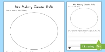 Mrs Mulberry Character Profile Activity To Support Teaching On The Sasquatch Escape by Suzanne Selfors, Chapter Chat Week 4 - chapter chat, year 3 and 4 chapter chat, week 4 activities, novel studies, suzanne selfors, sasquatc