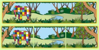 Colourful Elephant Themed Editable Display Banner - Elmer, David McKee, colour, heading, elephants, patchwork, multicoloured, colourful, banner, display