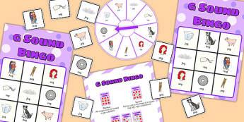 Final 'G' Sound Spinner Bingo - final g, sound, spinner, bingo