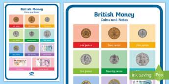 British Money Coins and Notes A4 Display Poster - money, coins, notes, recognising money,
