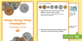 Solving Problems Involving Money and Decimals Challenge Cards -  - Decimal numbers, decimals, money, pounds, pence, investigation, hundredths