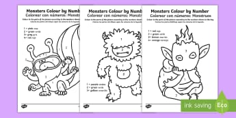 Monsters Colour by Number English/Spanish - EAL, halloween, colourful, numeracy, recognition, translation