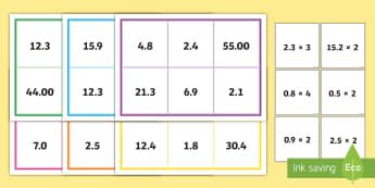 Multiplying Decimal Numbers Bingo - ACMNA129, multiply decimal numbers, decimal numbers, decimal number multiplication, multiply decimal