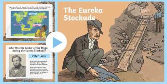 Eureka Stockade Discussion PowerPoint - Australian colony, ACHASSK108, gold, gold rush, Australian Gold Rush,  ACHASSK109,Australia