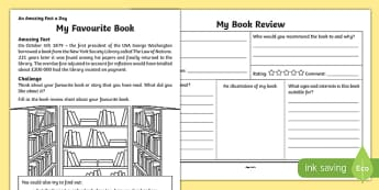 My Favourite Book Activity Sheet, worksheet