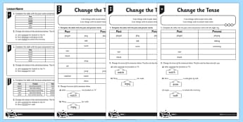 Change the Tense Differentiated Activity Sheet Pack - GPS, spelling, grammar, verbs, tenses, past, present, worksheet