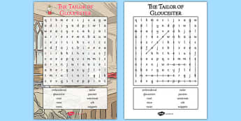 The Tailor of Gloucester Wordsearch - tailor, gloucester, wordsearch