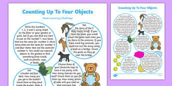 EYFS Counts Up to Three or Four Objects by Saying One Number Name for Each Item Home Learning Challenge Sheet