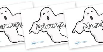 Months of the Year on Ghosts (Plain) - Months of the Year, Months poster, Months display, display, poster, frieze, Months, month, January, February, March, April, May, June, July, August, September
